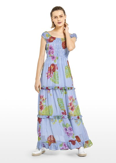 Long Akym georgette dress with Hawaiian flowers motif