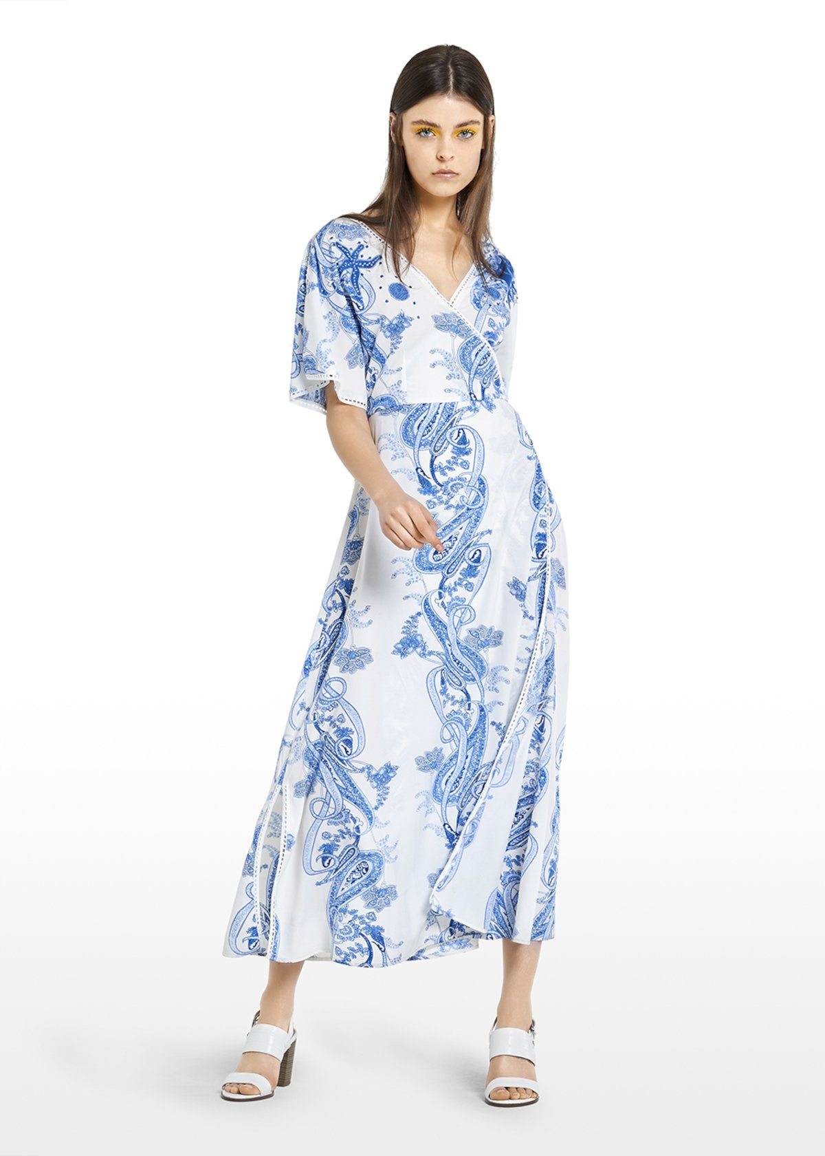 Arnold crossover long dress - White\ Mineral\ Fantasia - Woman