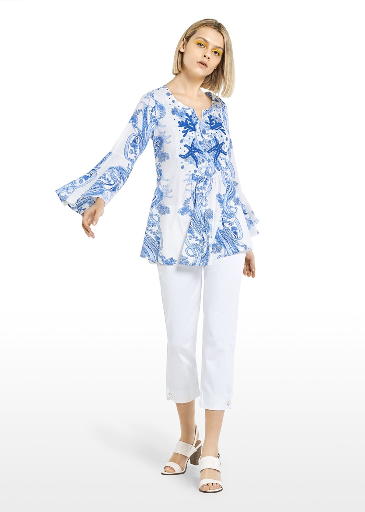 Chrissy-neck blouse with embroidery and beads - White\ Mineral\ Fantasia - Woman - Category image
