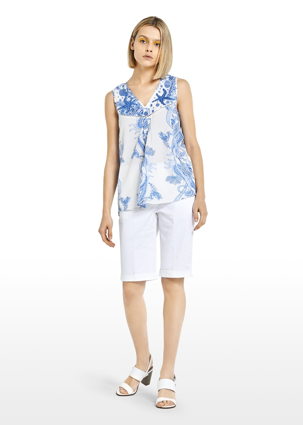 Trevor Top with chains and embroidery - White\ Mineral\ Fantasia - Woman