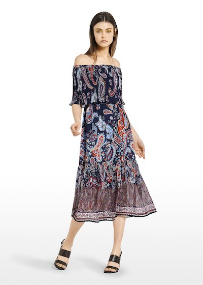 Andy long dress with pleated flounce