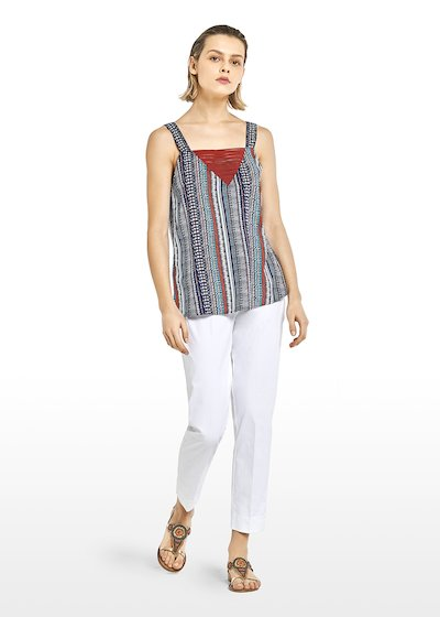 Top Tristan print stripes and polka dots with V-neck