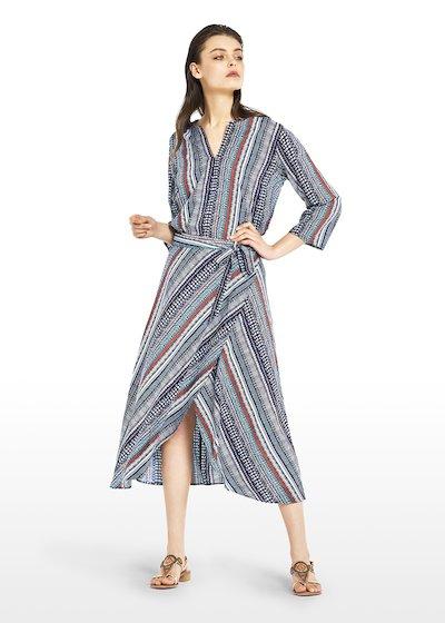 Gracy skirt with asymmetrical fantasy stripes