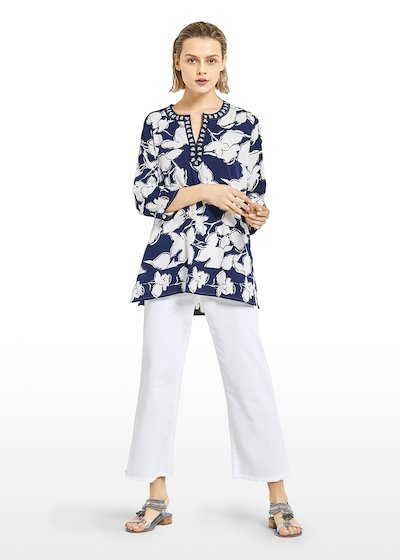 All-over print Kurta 'Cate' with round neckline