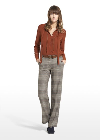 Patterned Prince of Wales wide leg pants Paolo