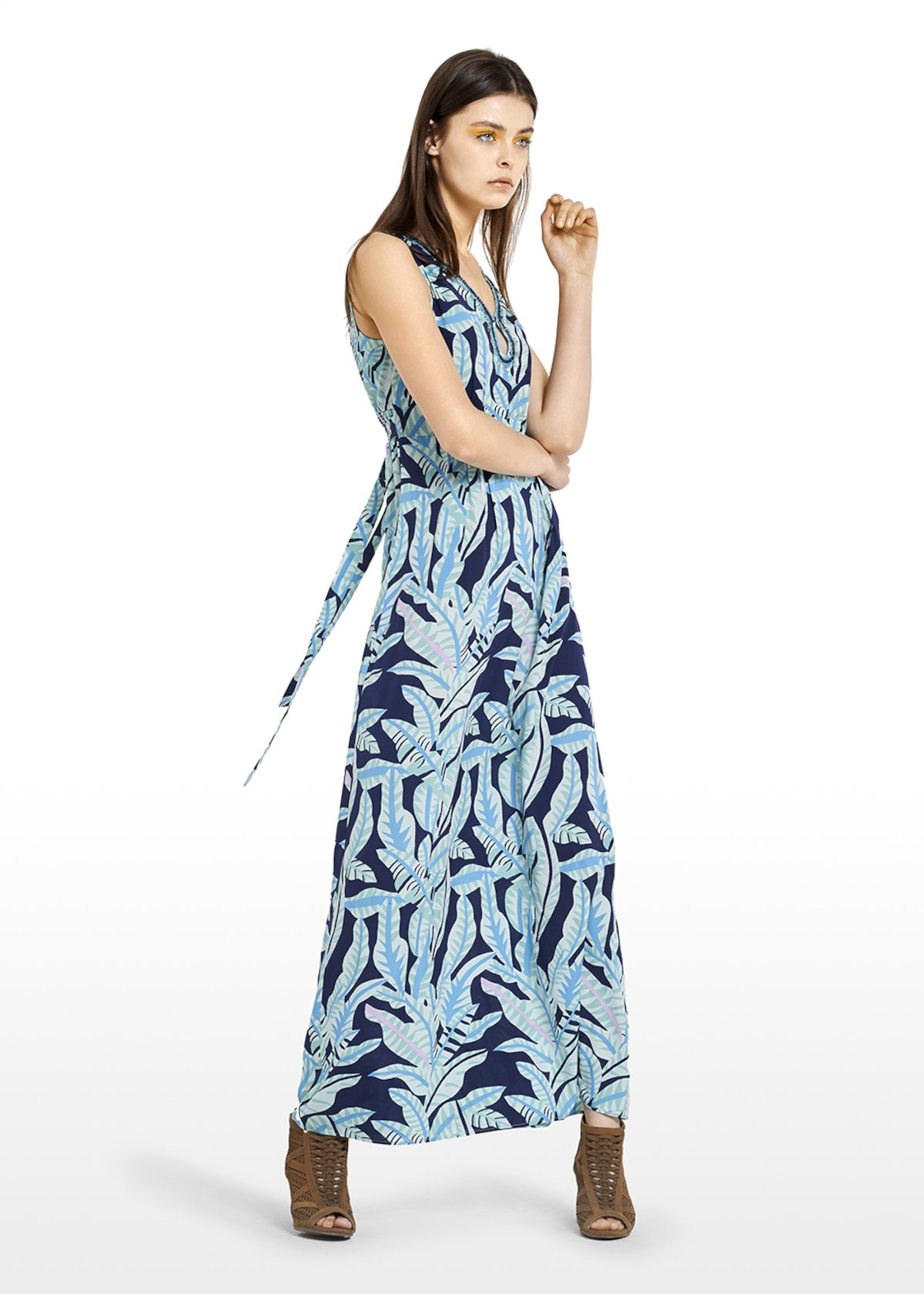 Aron Long dress with beaded embroidery on the neck - Medium Blue\ Plant\ Fantasia - Woman