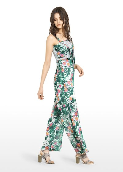 Tiger georgette jumpsuit with bow detail