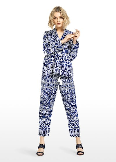 Pantaloni all over printed Platon con coulisse