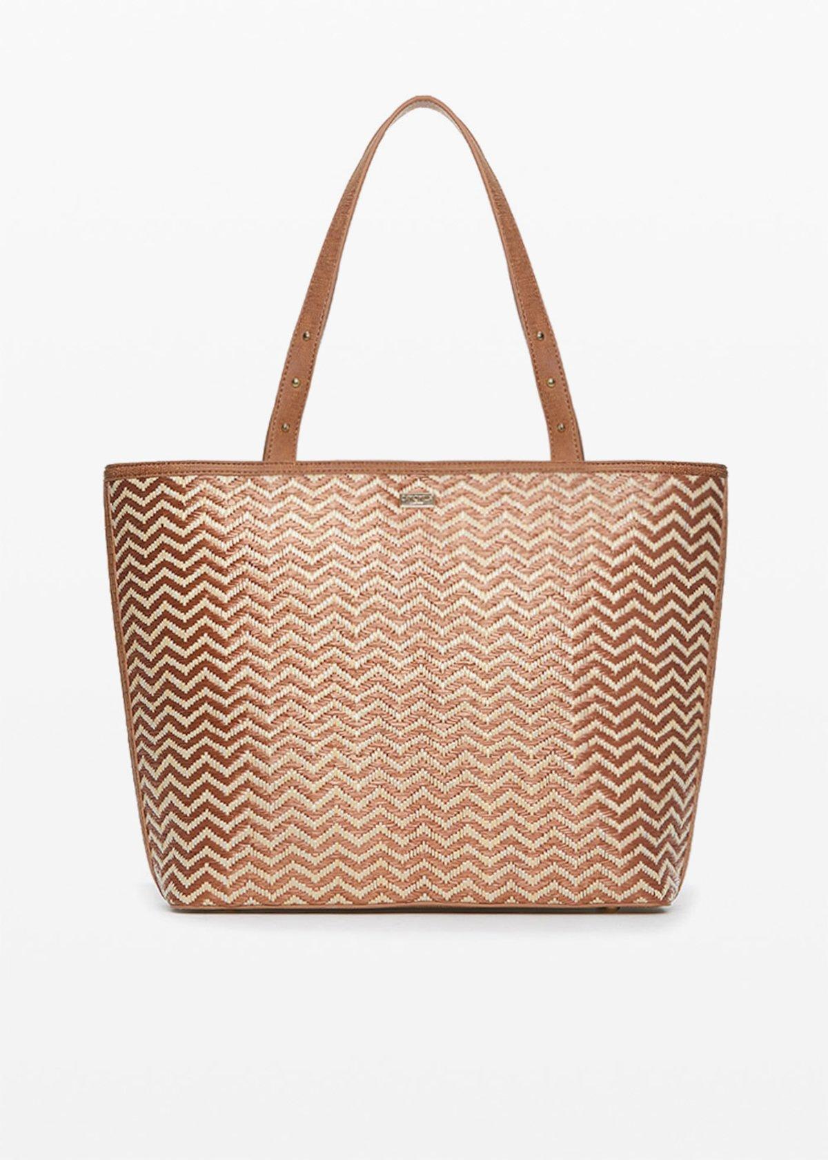 Faux leather and straw Brigitte shopping bag zigzag design - Lion / Safari - Woman