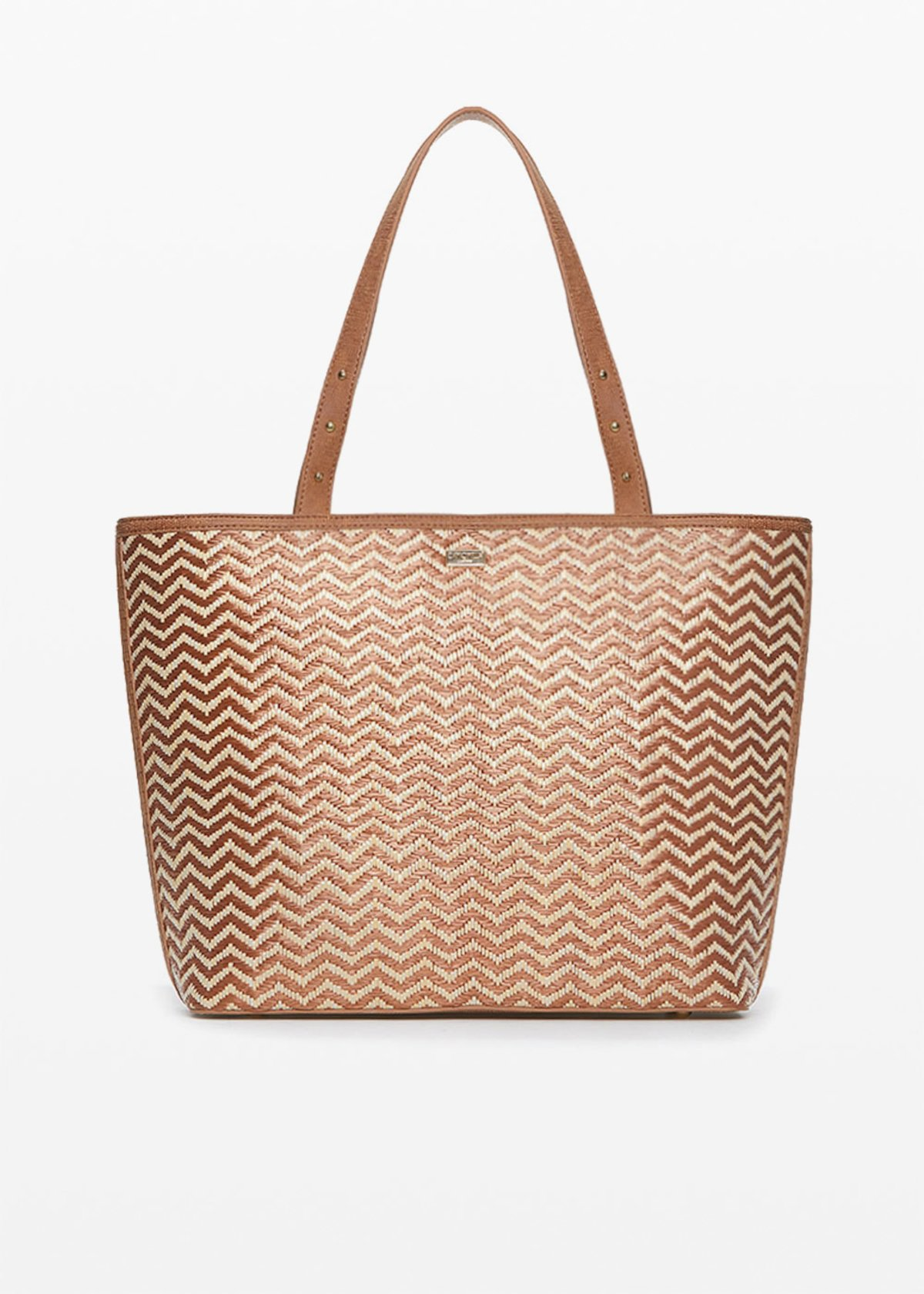 Faux leather and straw Brigitte shopping bag zigzag design - Lion / Safari - Woman