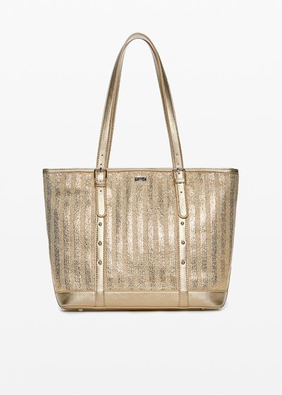 Faux-leather and straw Bicky shopping bag in silver plated straw