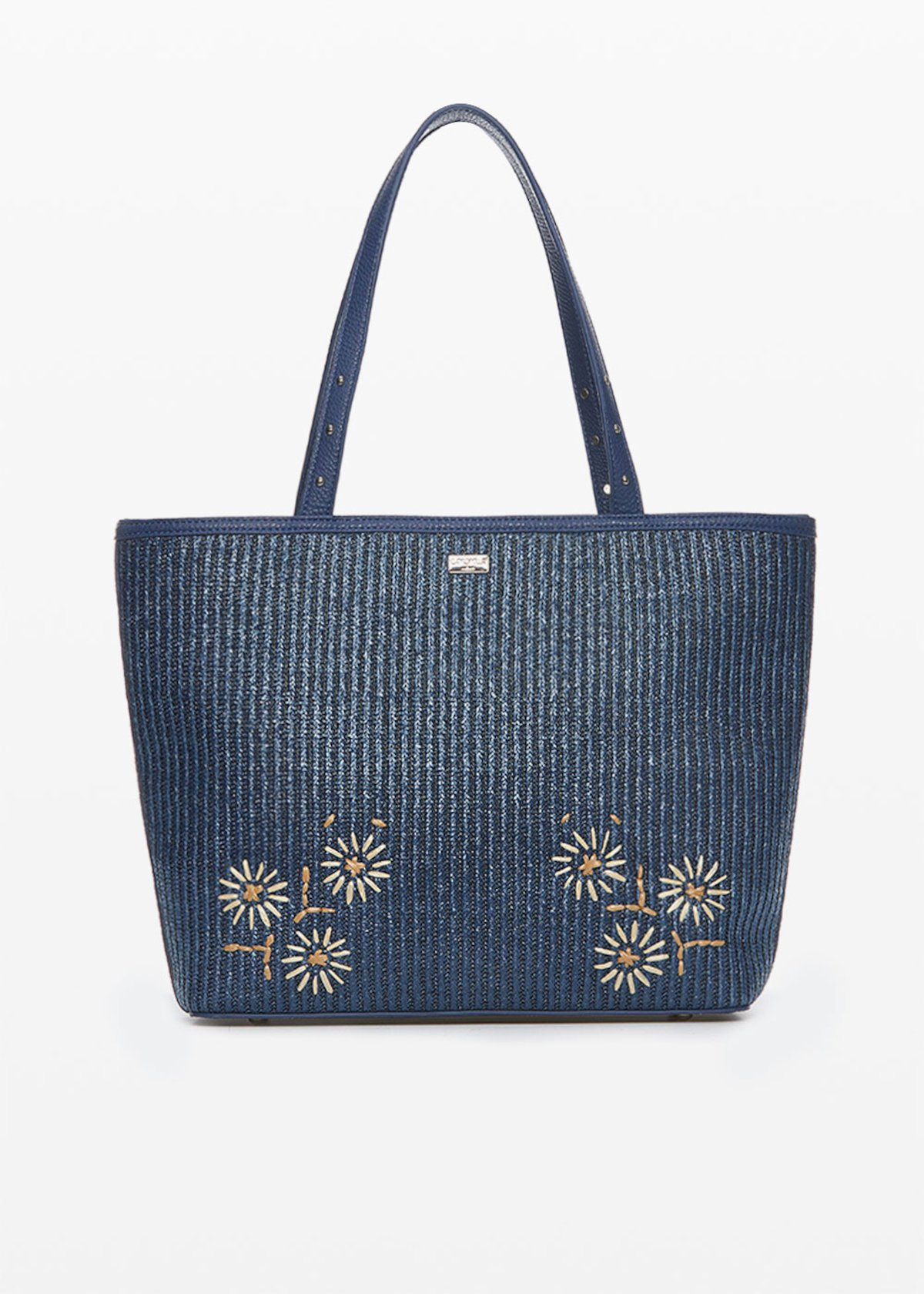 Faux-leather and straw Beck shopping bag with flowers details - Blue - Woman