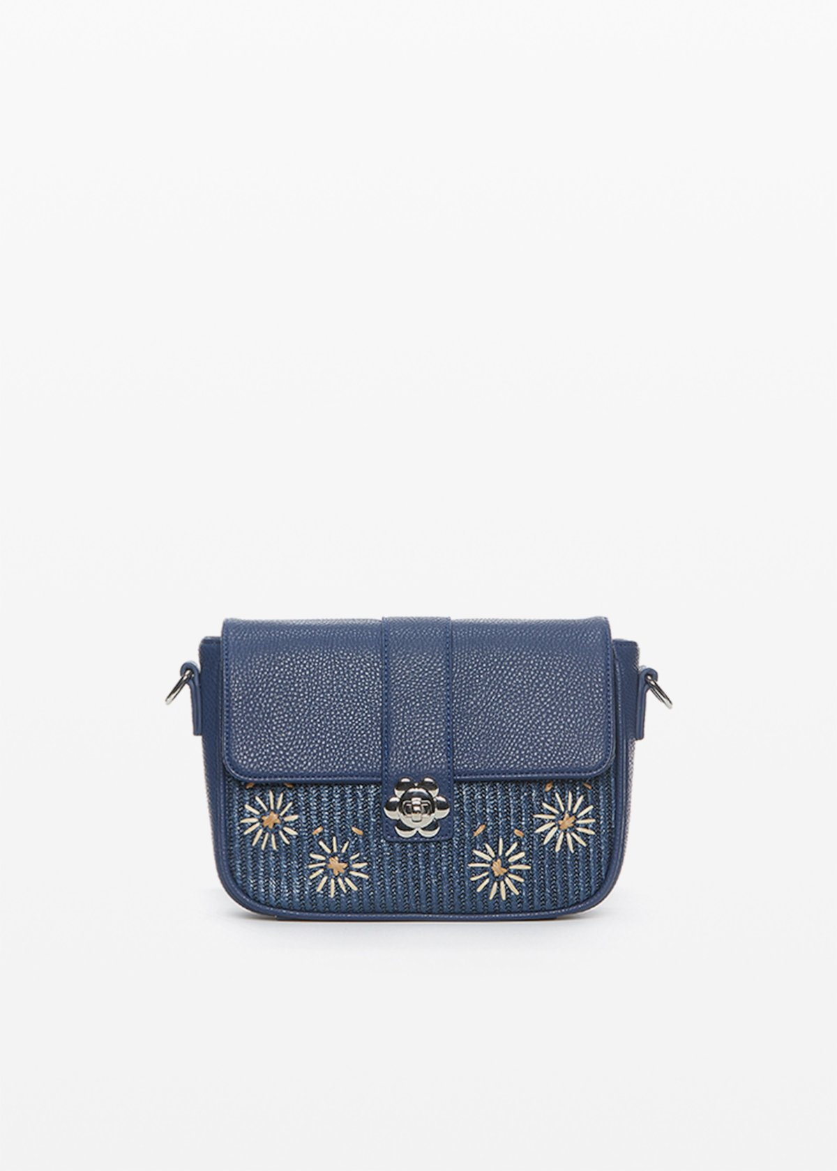 Faux leather and straw Betty clutch with flower closure - Blue - Woman