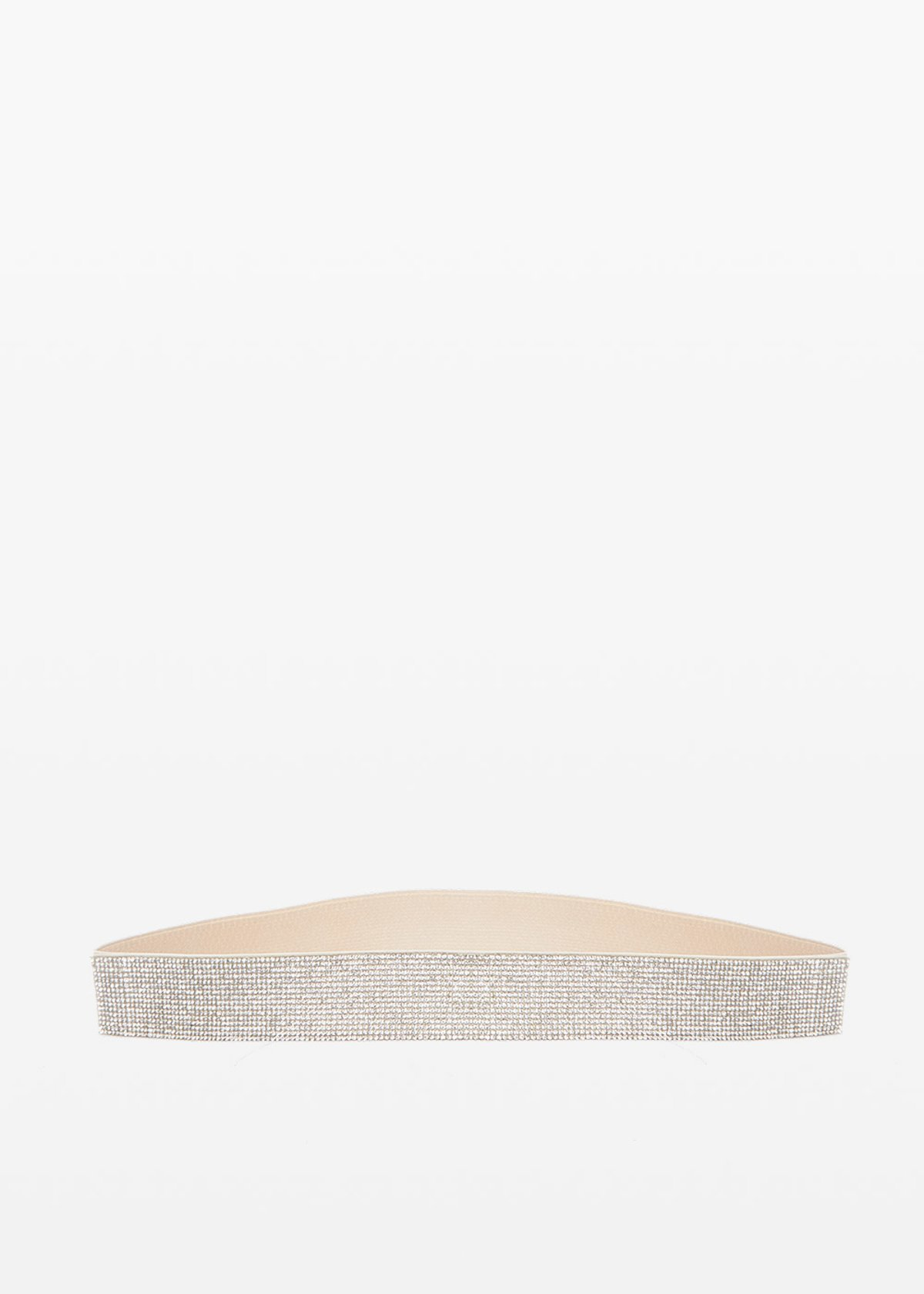 Curry faux leather and crystal belt - Light Beige - Woman