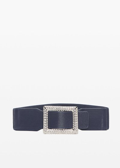 Clary faux leather belt with crystal buckle