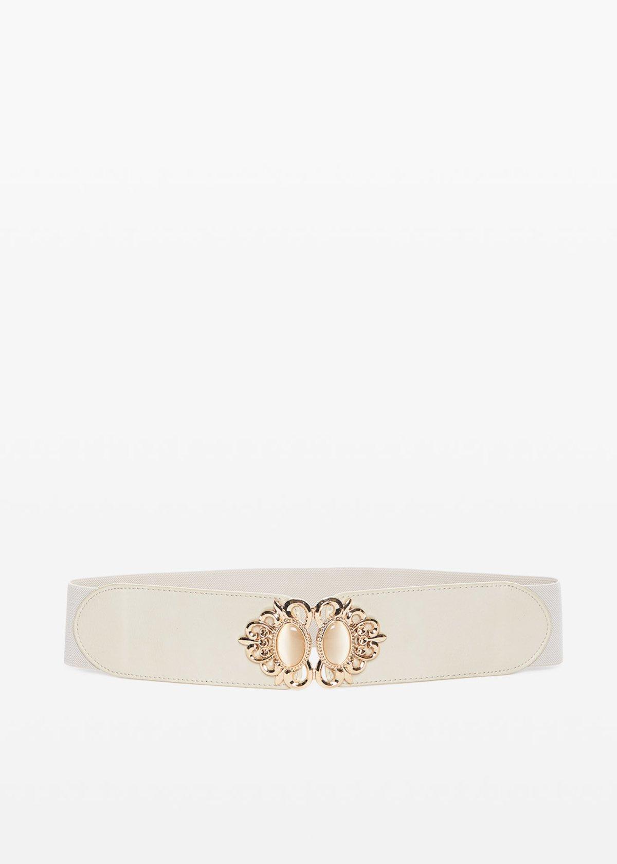 Charlott faux leather belt with light gold closure - Light Beige - Woman