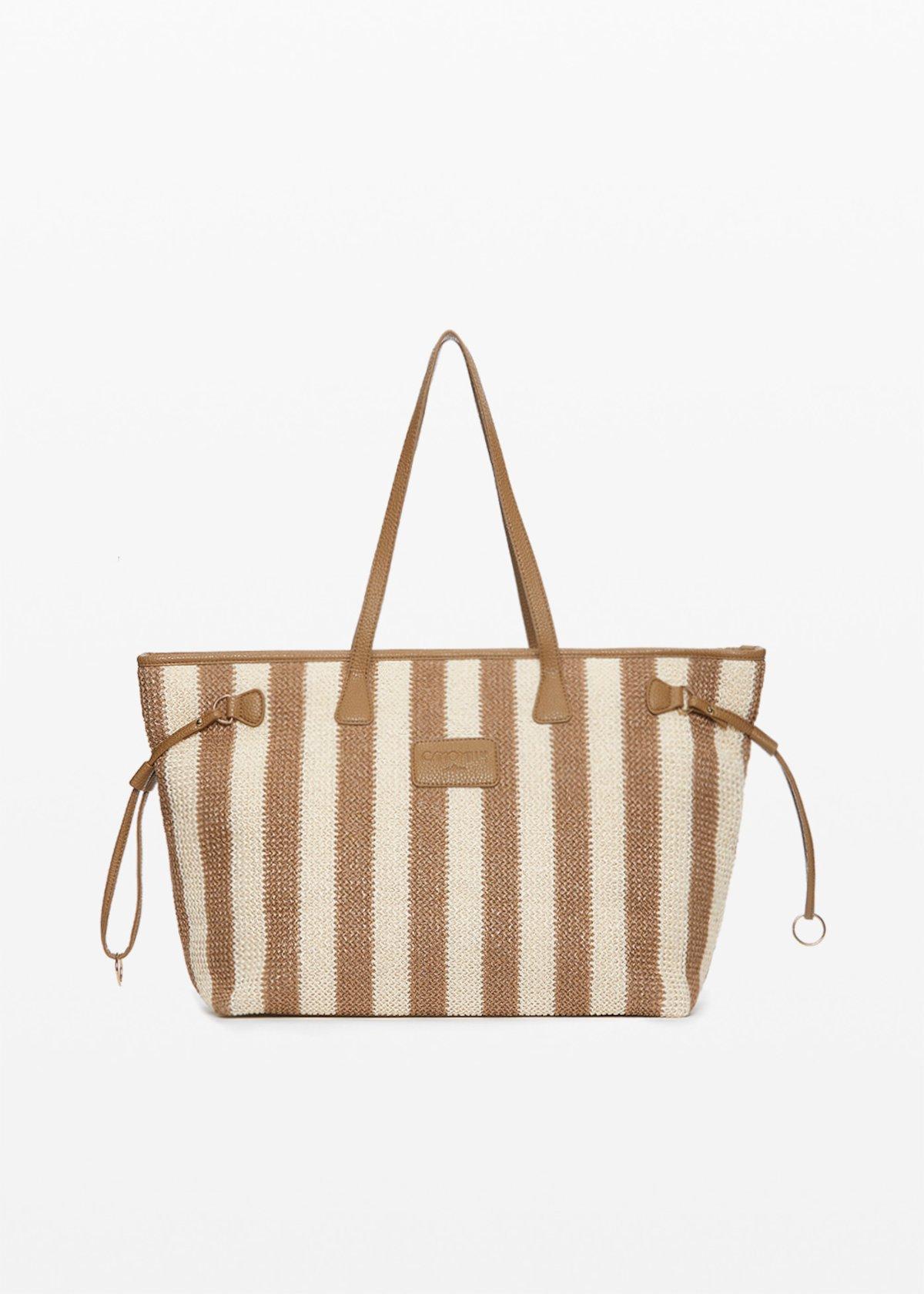 Raffia Nelly Shopping bag stripes fantasy - Desert / White Stripes - Woman