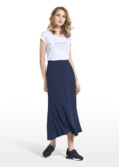 Long skirt Grazia in crêpe wave