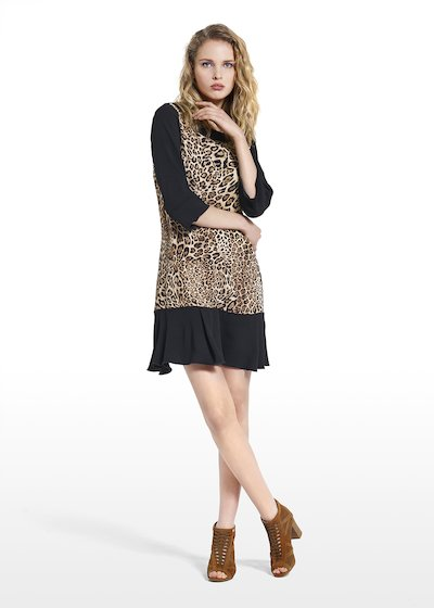 Patterned animalier dress Amour in pepper fabric