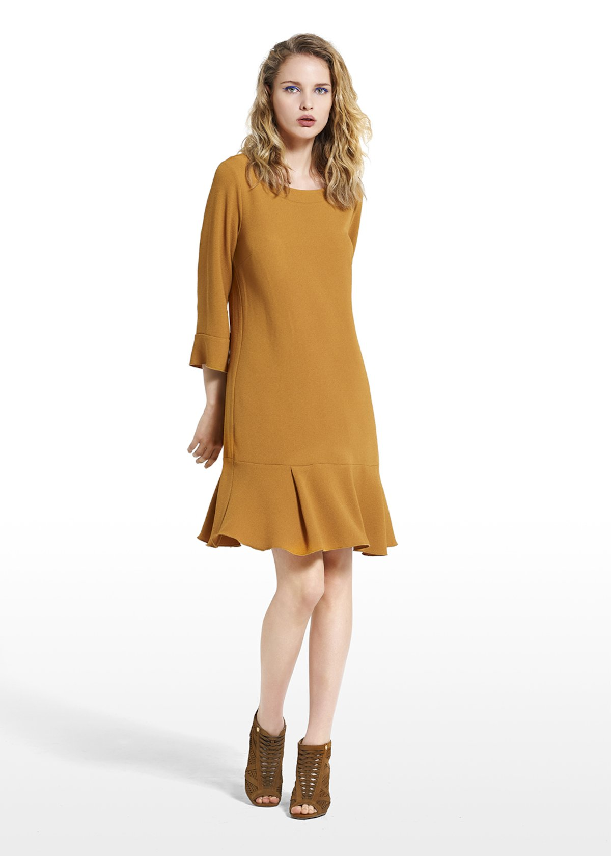 Dress Alex in wave fabric and bottom with flounces - Brown - Woman - Category image