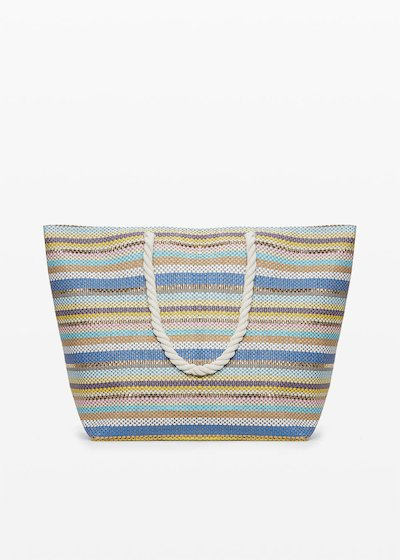 Shopping bag Brendy micro-stripes fantasy con doppi manici