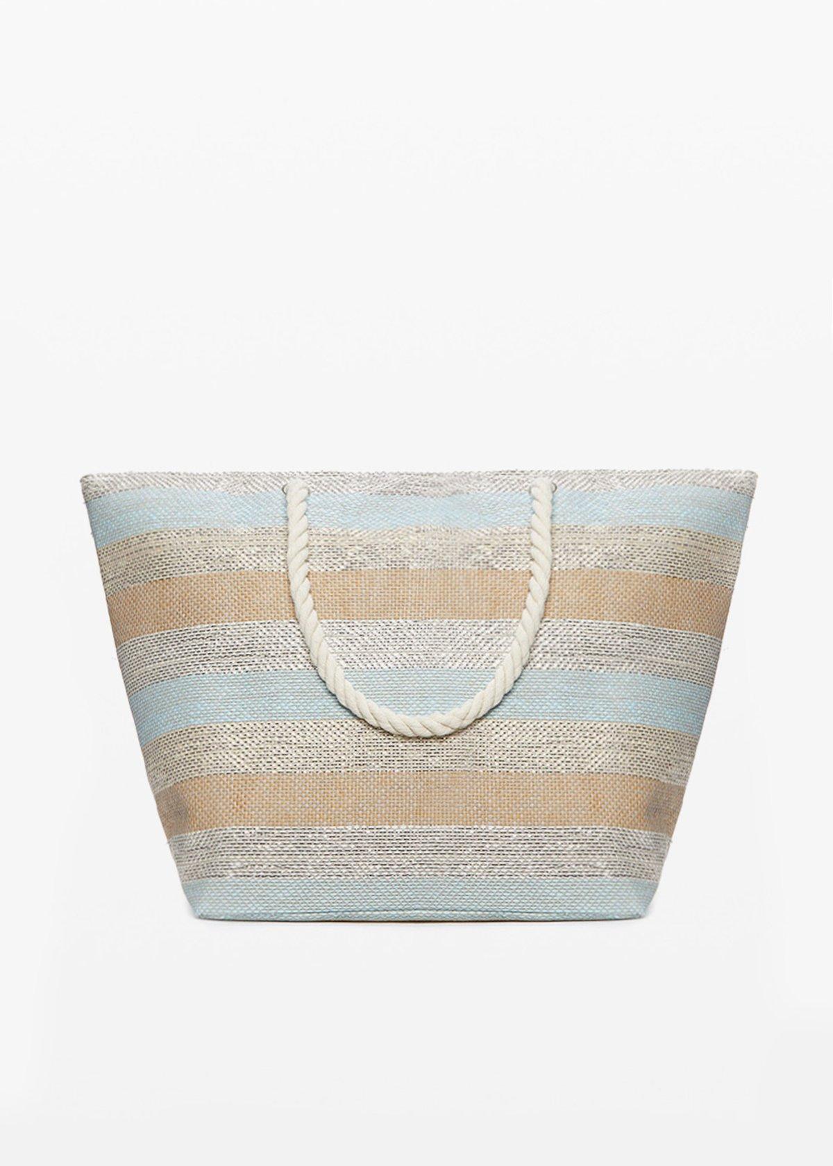 Buzzy macro-stripes fantasy shopping bag with zip closure - Sky   Stripes - Woman