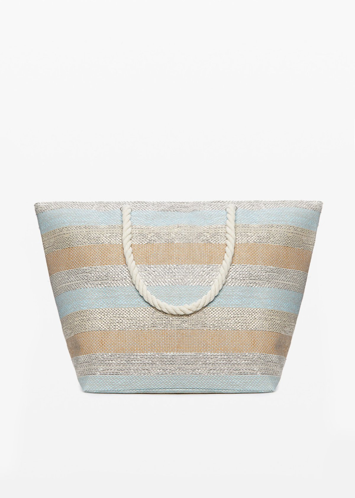 Buzzy macro-stripes fantasy shopping bag with zip closure - Sky   Stripes - Woman