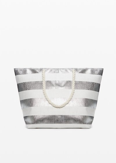 Shopping bag Belen silver shiny macro fantasy stripes