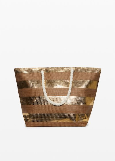 Shopping bag Bowland gold shiny macro stripes fantasy