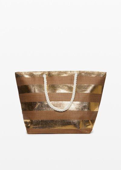 Bowland gold shiny macro stripes fantasy shopping bag