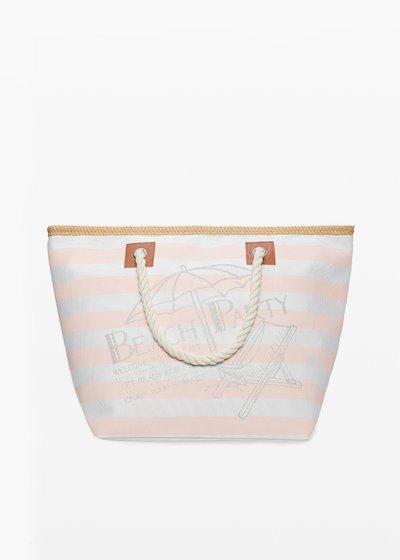 Shopping bag Barty stripes fantasy con profili in paglia