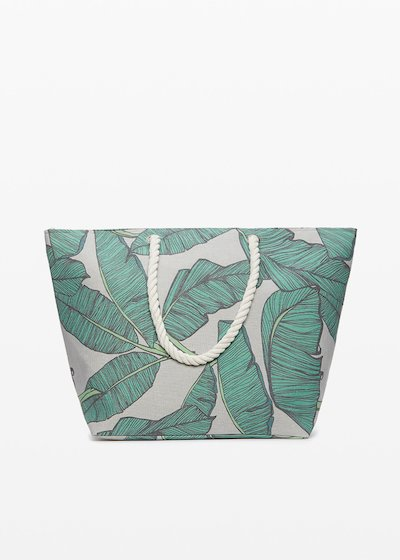 Shopping bag Bindy stampa foglie con chiusura a zip