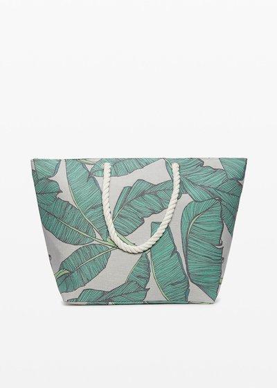 Bindy leaf print shopping bag with zip closure