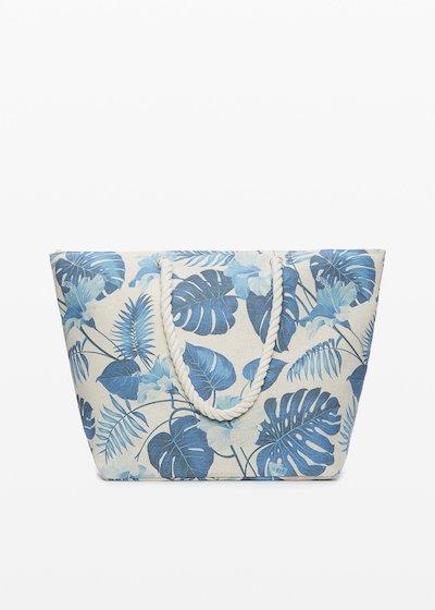 Shopping bag Baldy stampa foglie con doppi manici