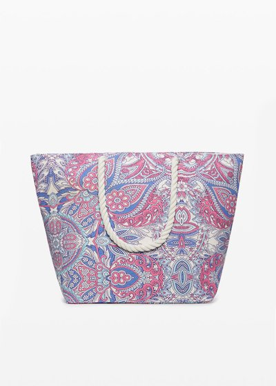 Shopping bag cachemire print con chiusura a zip