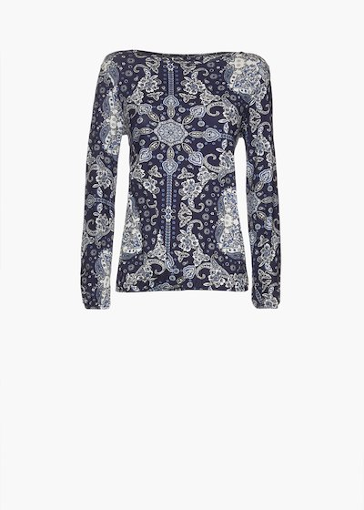 T-shirt Smoky in jersey stampa paisley