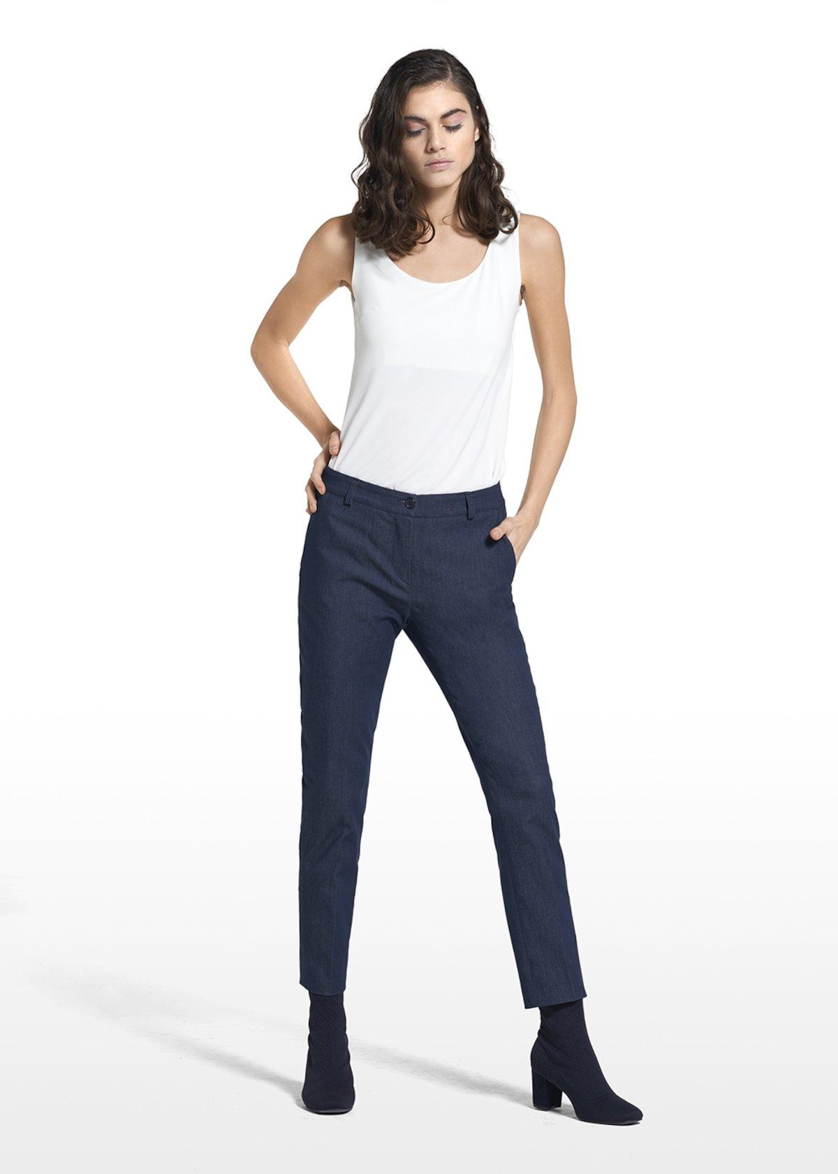 Pants Patrick with external broguing - Dark Denim - Woman - Category image