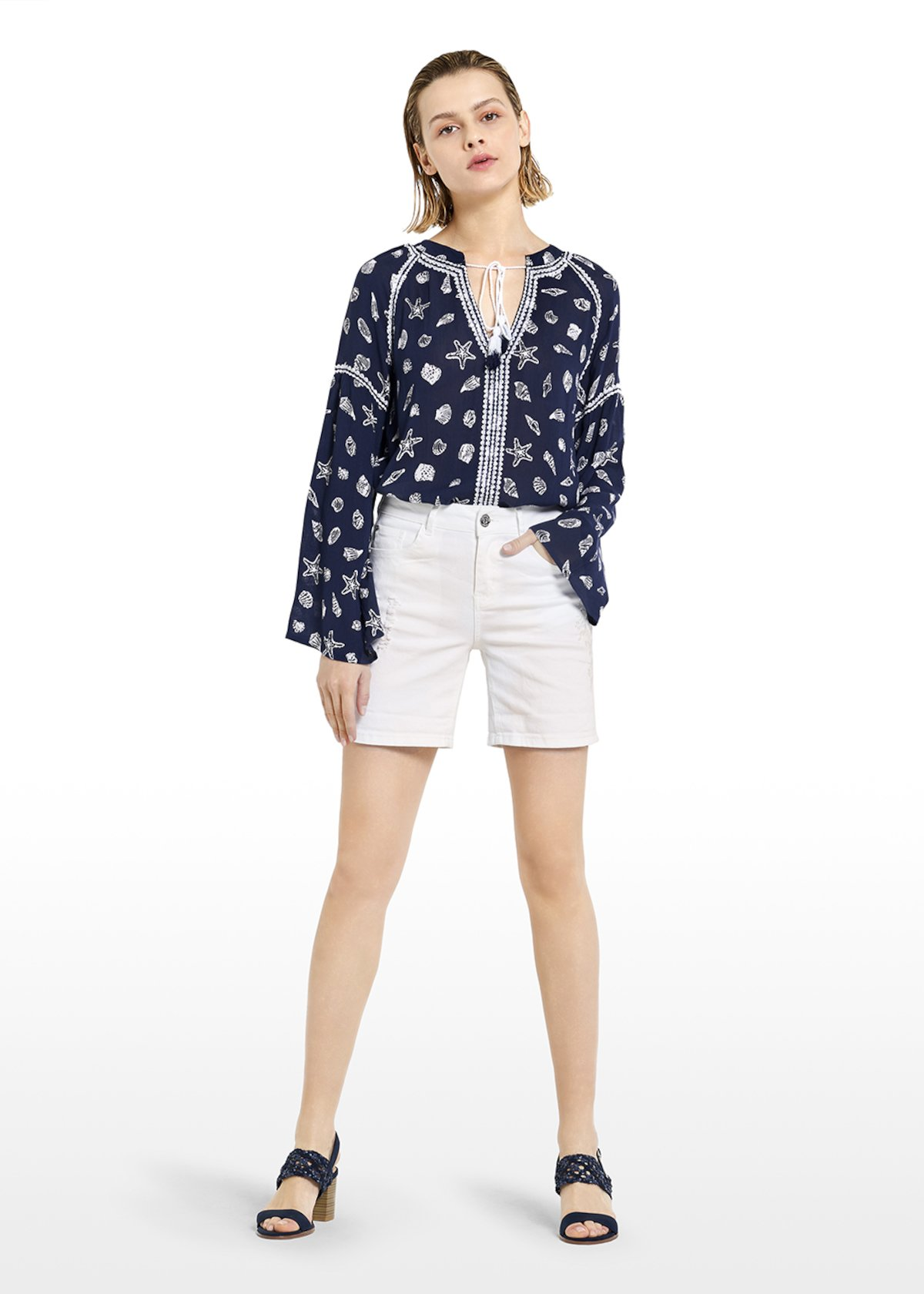 Byron Bermuda shorts with embroidery in tone - White - Woman