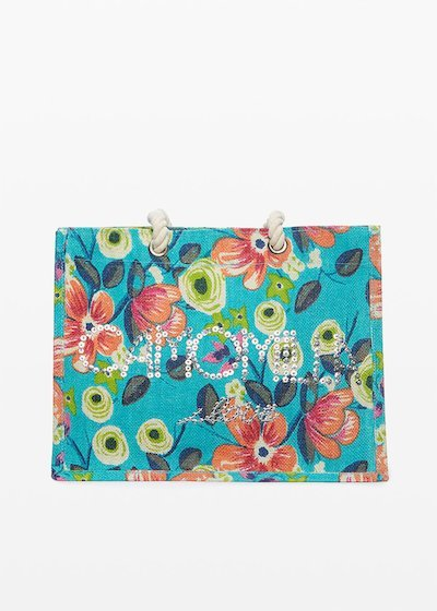 Biky flowers print jute bag with Camomilla ilove logo on the front
