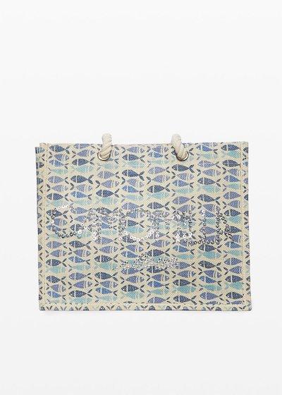 Jute bag Bitty fish print con logo Camomilla ilove in paillettes