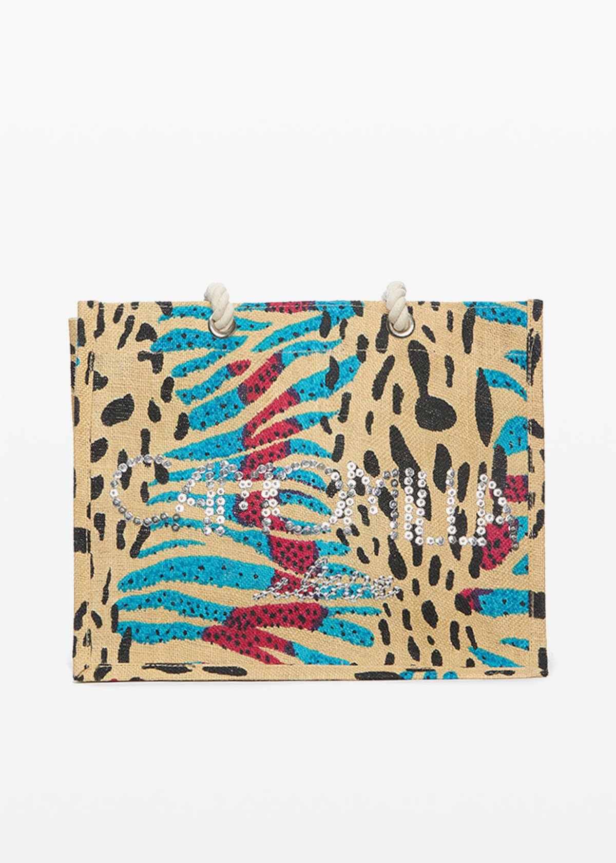 Blackie animalier print jute bag with Camomilla logo i love in sequins - Light Beige / Peonia Animalier - Woman