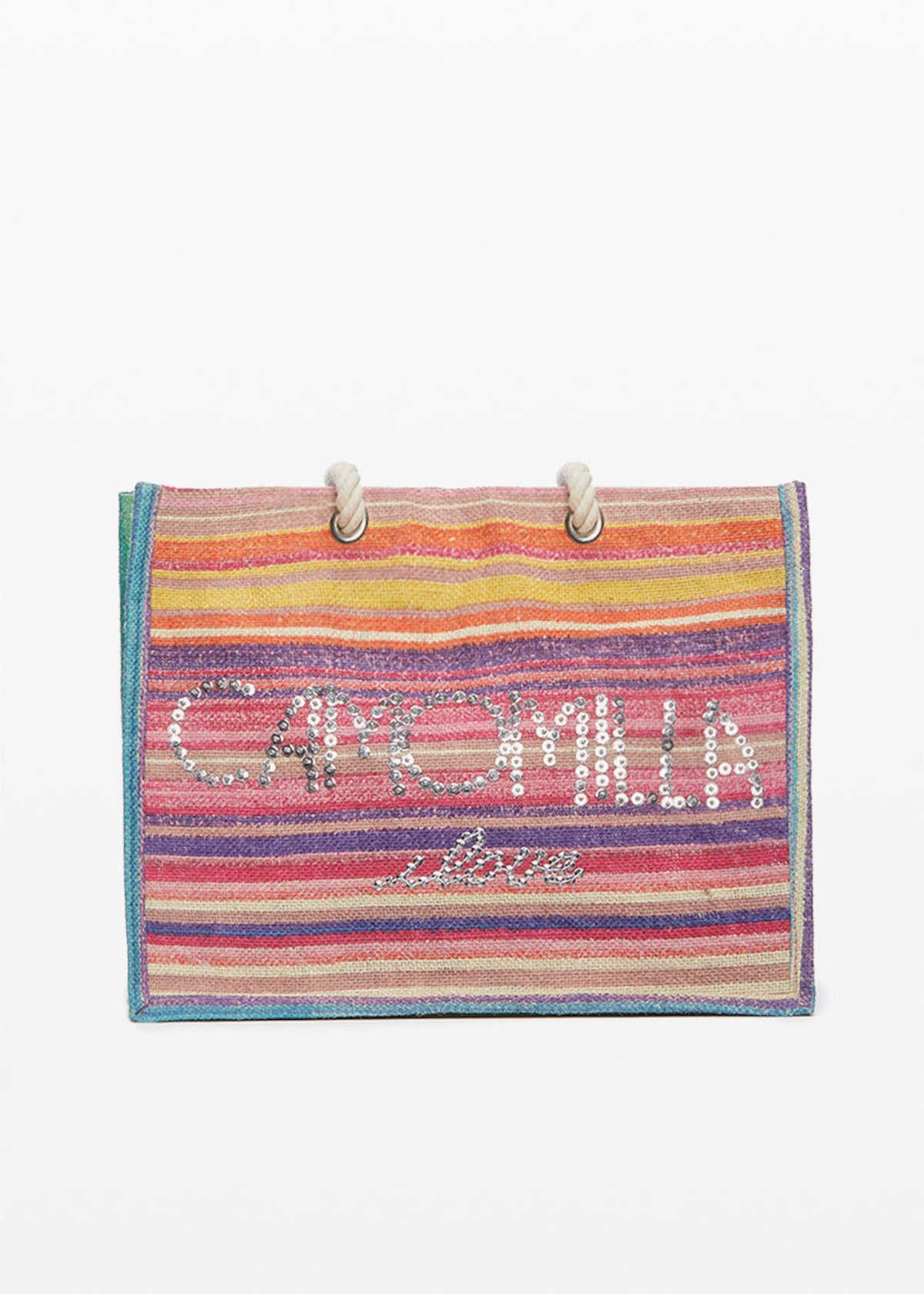Blondy stripes print jute bag with Camomilla ilove logo in sequins - Hibiscus / Plant Stripes - Woman