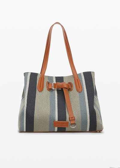 Bright shopping bag in fabric canvas and faux leather with strap decoration