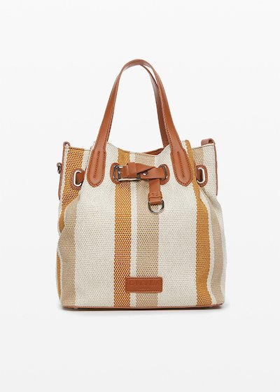 Brady stripes fantasy bucket bag with double faux leather handles