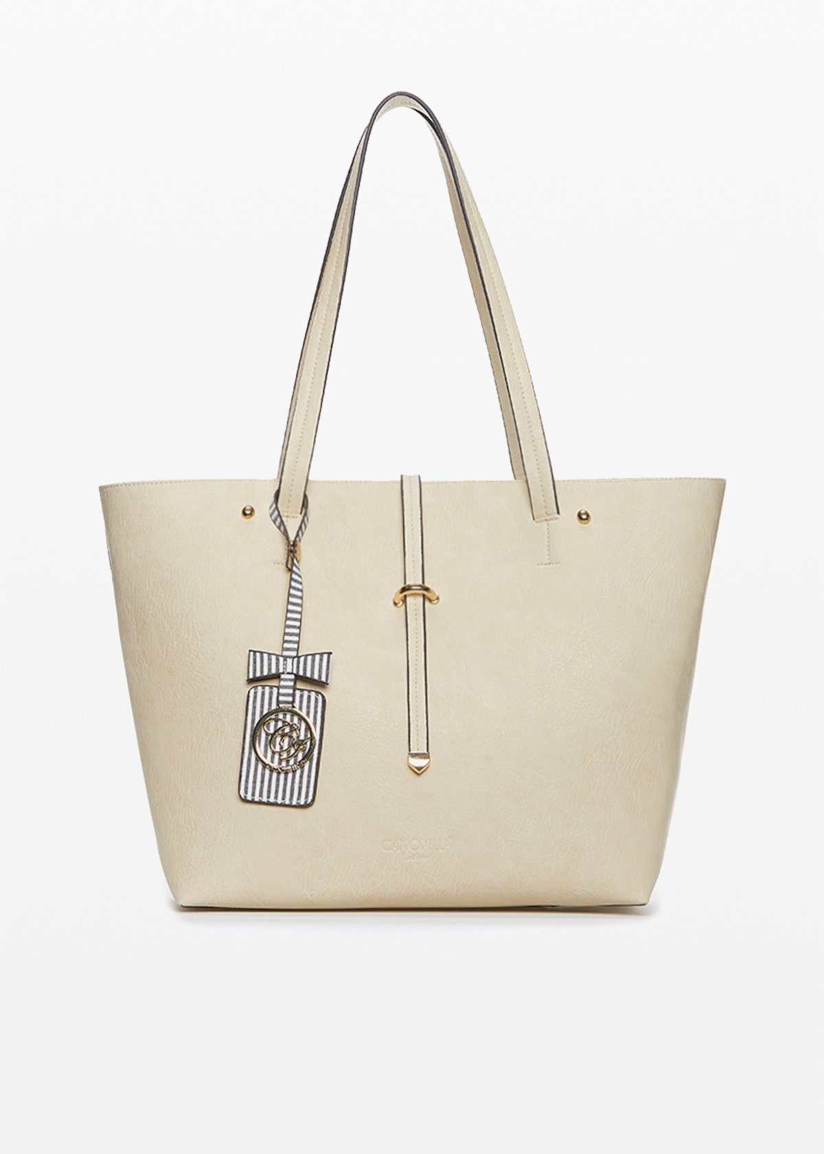 Beth faux leather shopping bag with vanity case inside - Light Beige - Woman