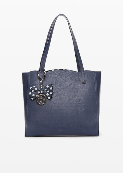 Bryn faux leather shopping bag with bow and contrasting logo