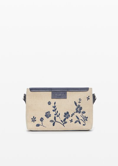 Bunny clutch bag in canvas with flowers decoration
