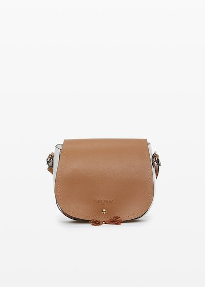 Boppy cross-body bag in bicolor eco-leather with contrasting leaf and micro-nappa decoration