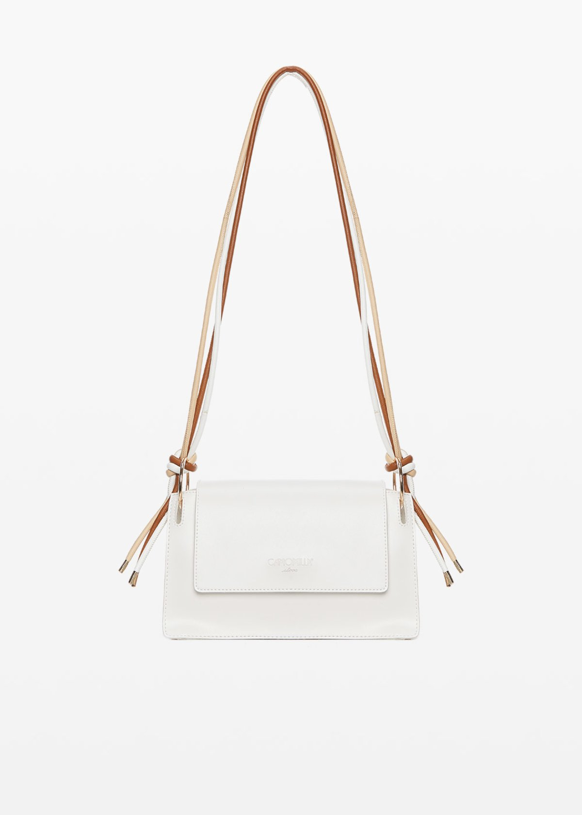 Bertha shoulder bag with layered shoulder strap and light gold details - White - Woman