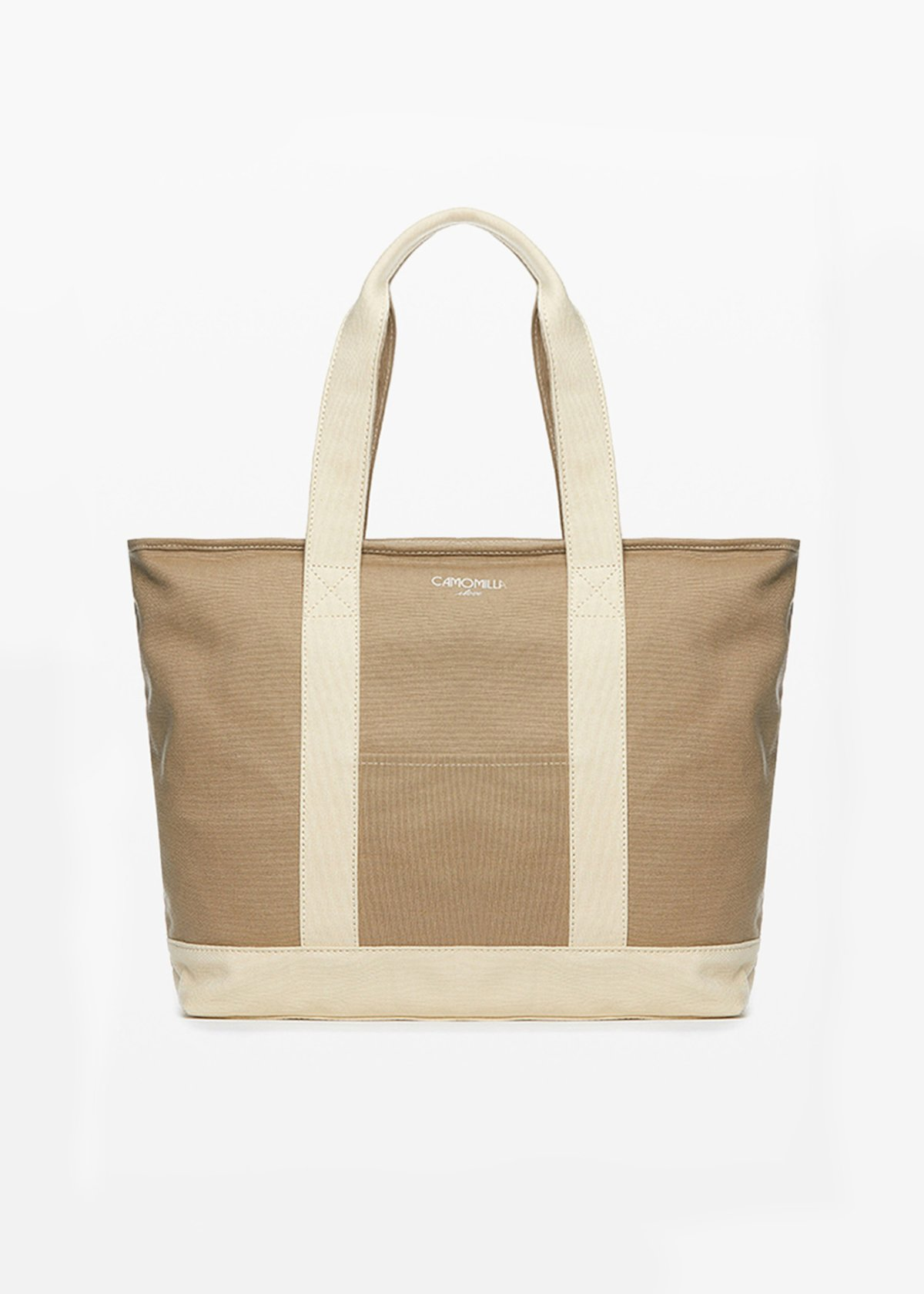 Bastien canvas shopping bag with printed logo - Beige - Woman